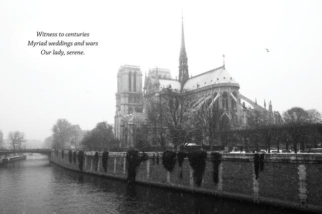 Haiku Notre Dame snowing