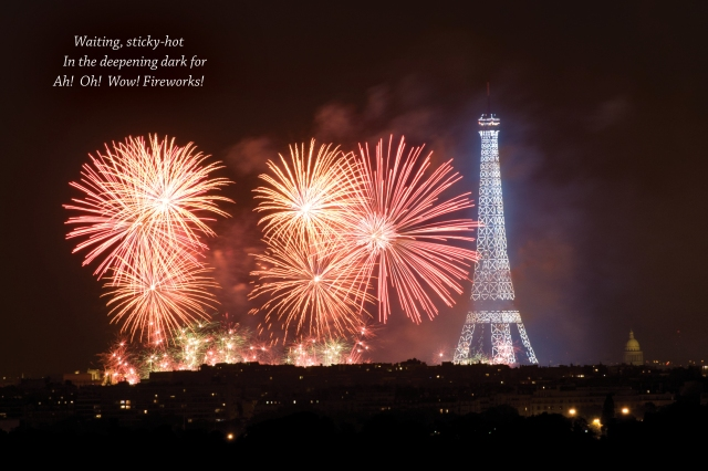 July 14 fireworks haiku