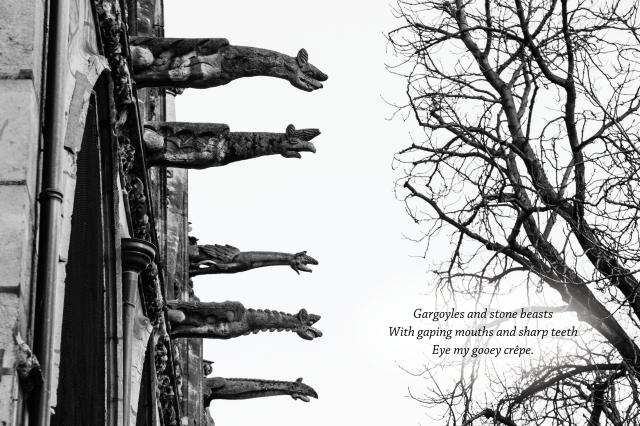 B&W gargoyles haiku